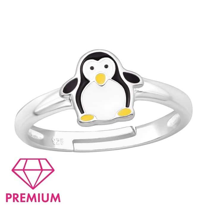 pierścionek dziecięcy z pingwinem