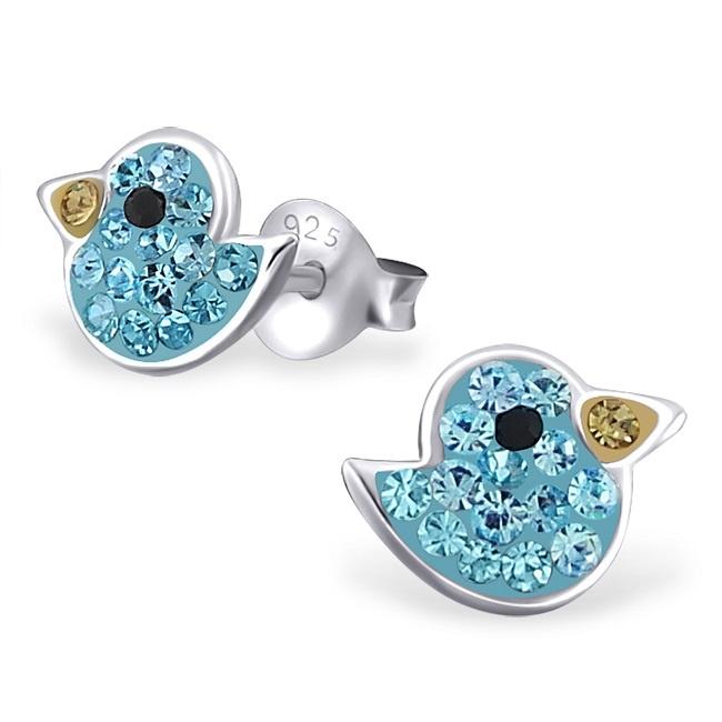 Kolczyki Niebieskie Ptaszki