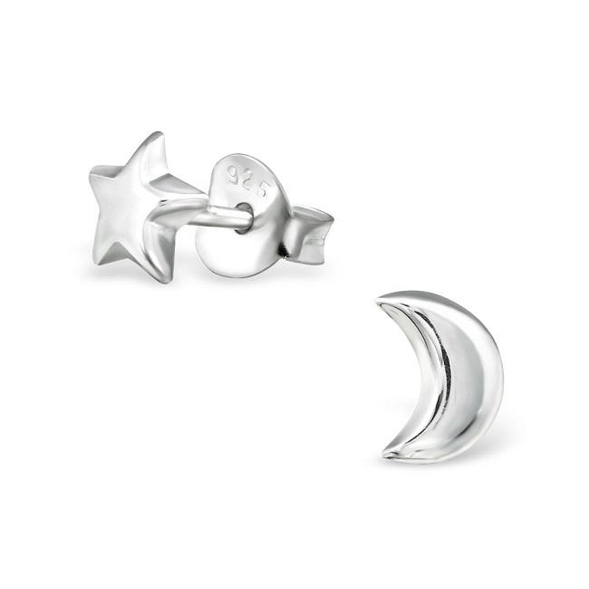 Kolczyki Gwiazda i Księżyc