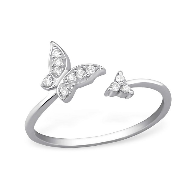 Srebrny Pierścionek Motyl