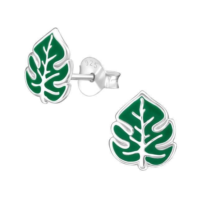 Kolczyki Zielony Liść