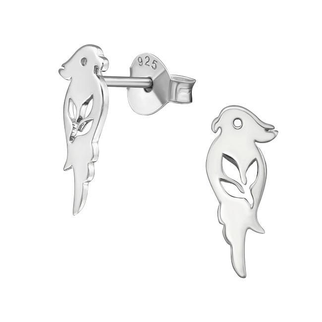 Srebrne Kolczyki z Papugą