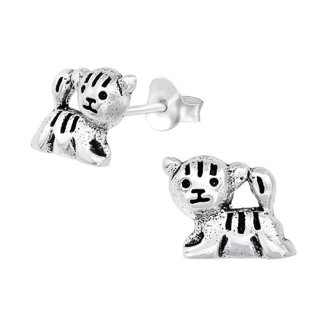 Kolczyki Srebrny Tygrys