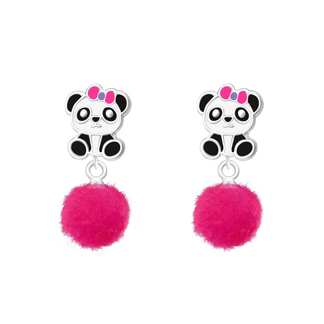 Kolczyki Panda z Pomponem