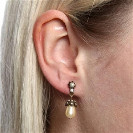 Kolczyki ze szklaną perłą