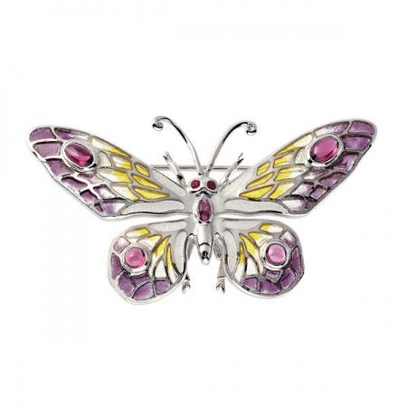 Broszka Motyl z Rubinem