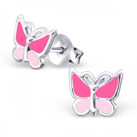 Kolczyki z Różowym Motylkiem