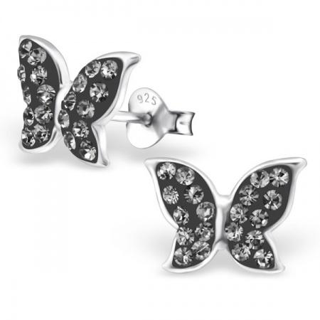 Kolczyki Motyl z Kryształkami