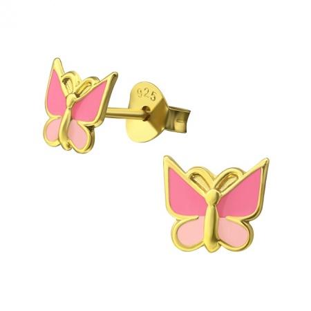 Kolczyki Pozłacany Motylek