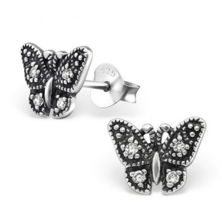 Kolczyki Srebrny Motylek