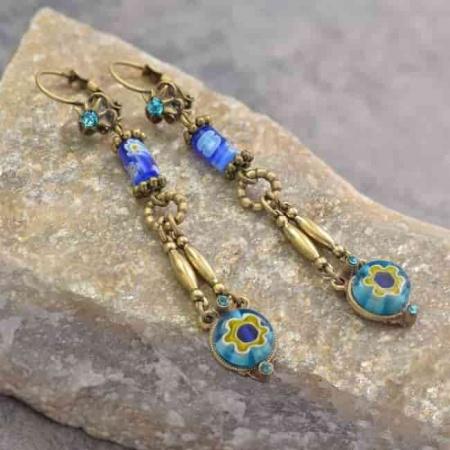 Kolczyki Niebieskie Millefiori
