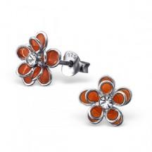 Kolczyki kwiatuszki pomarańczowe