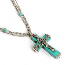 naszyjnik turkusowy krzyż
