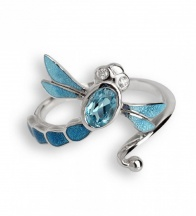pierścionek z ważką błękitny topaz
