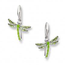 Kolczyki zielone ważki z brylantami