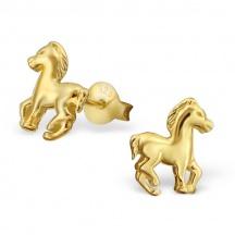 Kolczyki Konie w złotym kolorze