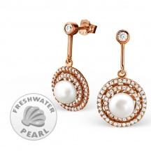 Kolczyki z perłą i cyrkoniami