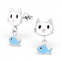 Kolczyki Kot z rybką