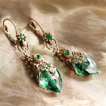Kolczyki Zielone Kryształy