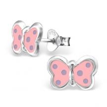 Kolczyki Różowe Motylki