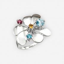 Pierśćionek Kwiat z Kamieniami