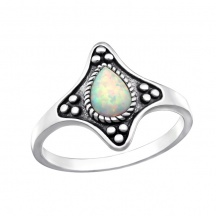 Srebrny Pierścionek Opal