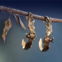 Duże Kolczyki z Nietoperzem