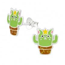 Dziecięce Kolczyki Kot Kaktus