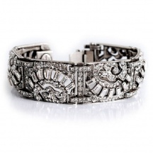 Bransoletka Art Deco białe kryształy