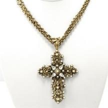 Naszyjnik krzyżyk z perłami