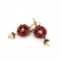 wiktoriańskie kolczyki czerwona róża